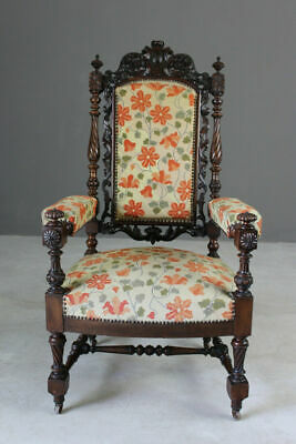 Antique Victorian Ornate Carved Throne Open Arm Chair Fireside Hall Armchair