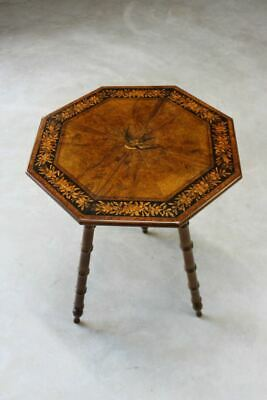 Stunning Antique Inlaid Marquetry Octagonal Occasional Lamp End Side Table
