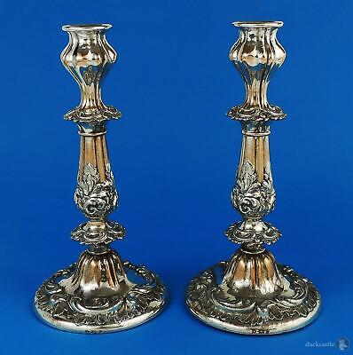 Decorative PAIR William IV OLD SHEFFIELD PLATE CANDLESTICKS c1835 J Dixon & Sons