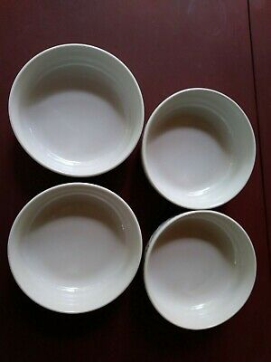 """Totally Today Four 6"""" Cereal Soup Bowls Cream White Basket Pattern"""