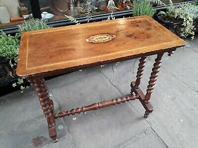 Antique Inlaid Bobbin Turned Leg Console Table / Hall Table