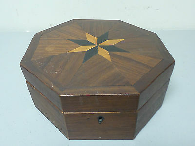 Unusual Antique Octagonal Shaped Sewing Box, Inlaid Top, Padded Interior