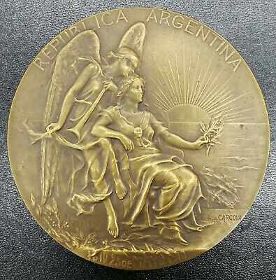 ARGENTINA 1910 INTERNATIONAL AMERICAN CONGRESS BIG BRONZE MEDAL by DE LA CARCOVA