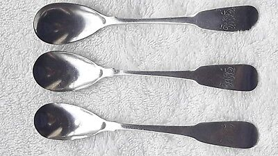 3 Super Irish Georgian Solid Silver Mustard Spoons by John Power Dublin 1812