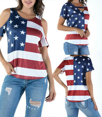 8595e73849ef13 USA Women's American Flag Shirt 4th of July Patriotic Tank Top T Shirt  Blouse