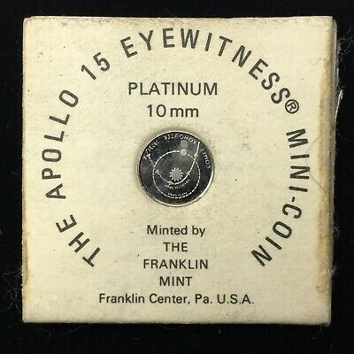 APOLLO 15 EYEWITNESS PLATINIM MINI-COIN - 10 mm - FRANKLIN MINT