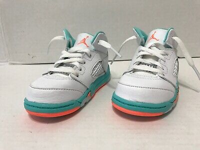 92d9e6999b2 Nike Air Jordan 5 Retro GT White/Crimson Pulse /Light Aqua 725172 100 Sz