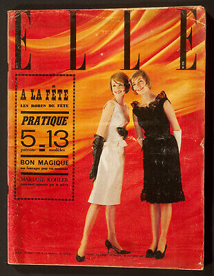 'Elle' French Vintage Magazine Party Dresses Issue 28 October 1960