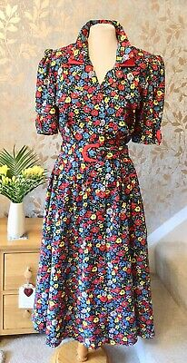 Susie G Red Floral 40's 50's Vintage Style Dress Size 12 Women's 100% Cotton