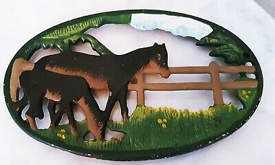 Vintage Hand Painted Cast Iron Horse Foal In Fenced Pasture Trivet Hot Plate