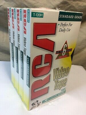 "RCA 4 Pack VHS T-120 6 Hours Standard Grade Blank Video Tapes ""NEW SEALED"""