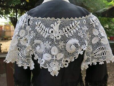Antique vintage French needle tambour lace large wide fancy collar