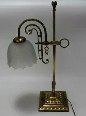 "VINTAGE Gold Brass Art Deco Table Desk Lamp w/ Glass Shade 22"" WORKING"