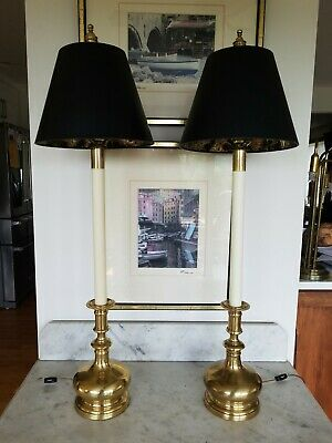 """Pair of Frederick Cooper Brass Buffet Candlestick Table Lamps 36"""" Tall Elegant!"""