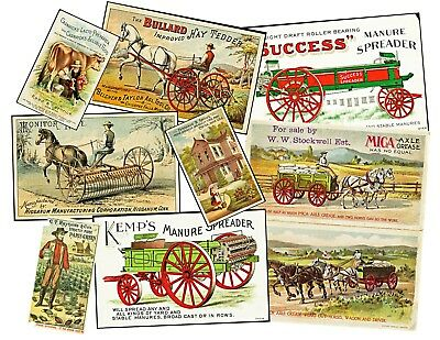FARM WAGON VICTORIAN ADVERTISING CARD, 9 Stickers, 1 Sheet, Junk Journal COLLAGE