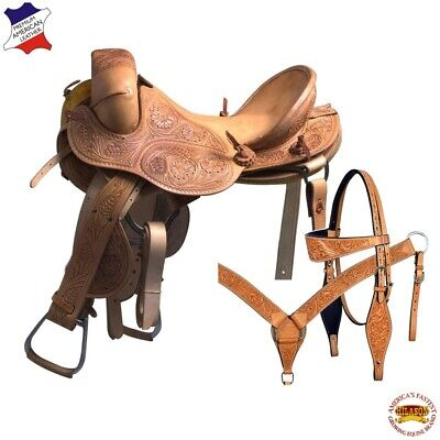 "C-L-16 16"" Hilason Classic Series Hand-Made Rodeo Bronc American Leather Saddle"