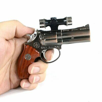 MINI Revolver Gun Shaped Windproof Cigar Lighter w/ Red Laser Jet Flame Ignition