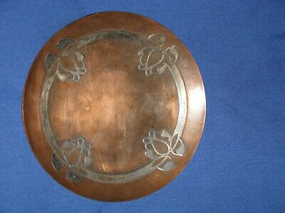 "Vintage Art Noveau Plate, Sterling on Bronze 61/4"" wide Made by Heintz"