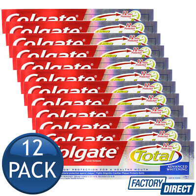 12 x COLGATE TOOTHPASTE TOTAL ADVANCED WHITENING TEETH ORAL DENTAL CARE 110g