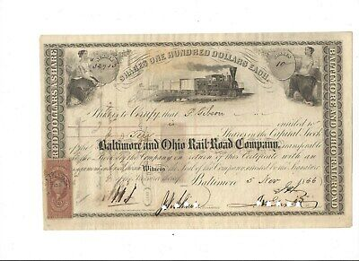 Johns Hopkins initialed Civil War Era B&O Railroad Stock Certificate-1866