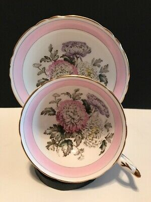 Vintage Paragon Cup and Saucer Pink w/ Chrysanthemums