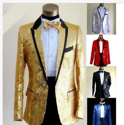 Mens Tuxedo Suit Bling Sequins Jacket One Button Blazer Formal Wedding Coat HOT