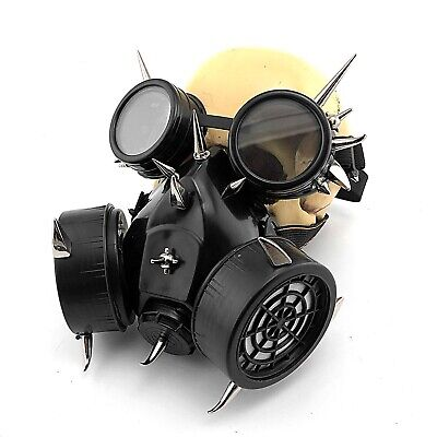 NEW Steampunk wasteland Halloween Costume Prom Goggles Gas Mask w Hoses Pair