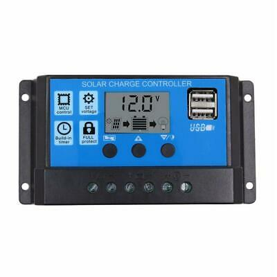 12V/24V LCD Auto Solar Charge Controller PWM Dual USB Output Charger Regulator