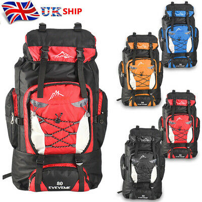 80L Extra Large Nylon Backpack Travel Hiking Camping Sport Rucksack Luggage Bag