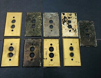 Vintage Antique Lot Of 9 Brass Push Button Light Switch Cover Plates
