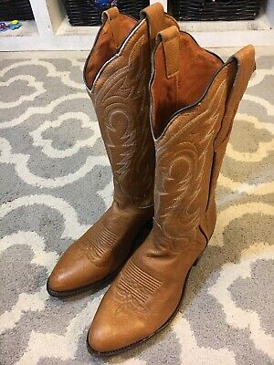 a9b93d85392 J CHISHOLM COWBOY Western Boots Mens Sz 9.5D Tan Brown Soft Leather  Handcrafted