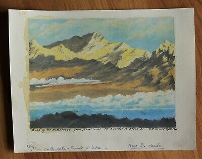 Vintage Landscape Study Painting By J.R. Armer - Himalayas - Circa 1966