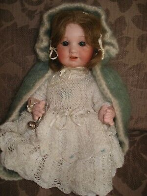 Antique German AM 971LlTTLE SISTER 10 IN5 piece baby comp body old wig,new dress