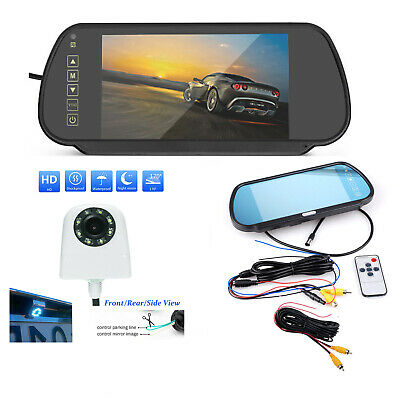 """Car Rear Front View System 7"""" HD Mirror Monitor+LED Nightvision Reversing Camera"""