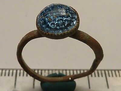 4280	Ancient Byzantine bronze ring with a blue glass 17mm
