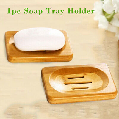 Natural Bamboo Wood Bathroom Shower Soap Tray Dish Storage Holder Rack Plate
