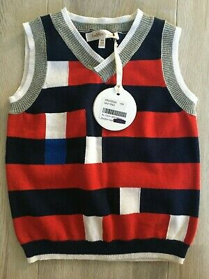Fox & Finch Baby/Toddler vest red, white and blue striped size 18m