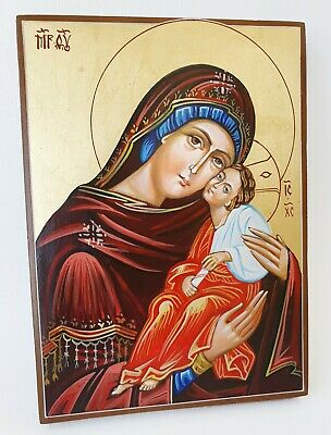 Unique Hand Painting icon Virgin Mary Compassionate Mother of God Jesus Christ