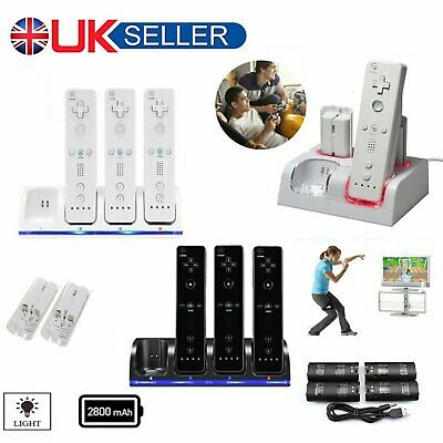 UK 4x Charger Dock&Station Rechargeable Batteries Pack For WII Remote Controller