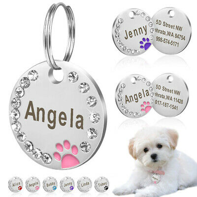 25mm Metal Blank Dog Tag Paw Rhinestone Pet Cat ID Name Engraved Key Ring Band
