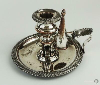 Smart GEORGE III OLD SHEFFIELD PLATE CHAMBER CANDLESTICK c1810 With Snuffers