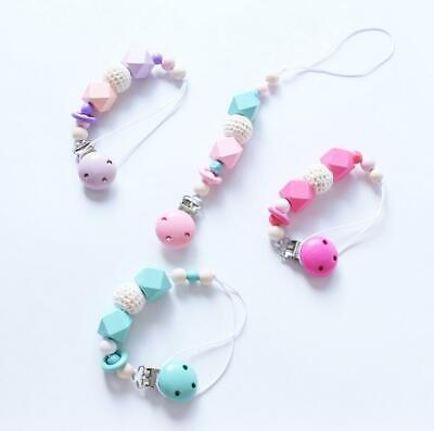 Baby Pacifier chain teether Dummy Pacifier Clip Cross section wooden beads