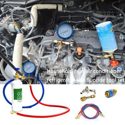 R134a R22 Car Air Conditioning Refrigerant Recharge Measuring Kit Hose Gas Gauge
