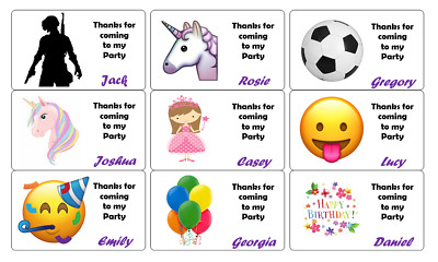 42 x Personalised Birthday Stickers Labels Thank You For Coming To My Party Bag