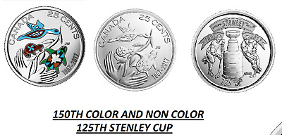 COLOURED 2017 CANADA/CANADIAN 25 CENT COIN 150th HOPE FOR A GREEN FUTURE UNC