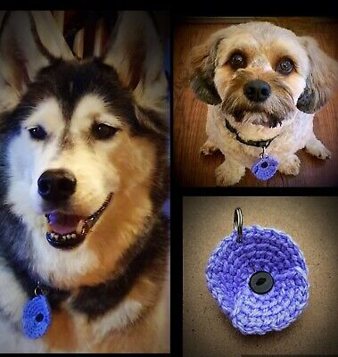 DOG COLLAR PURPLE POPPY TAG  - ANIMALS AT WAR REMEMBRANCE  10% to Murphy's Army.