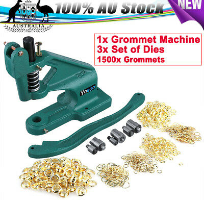 Grommet Eyelet Hole Punch Machine 1500 Grommets Hand Press Tool 3Dies 6/10/12mm