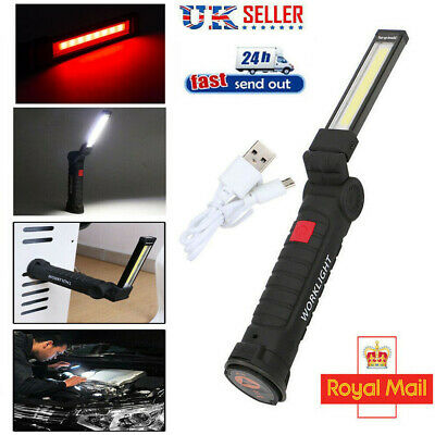 COB+LED Rechargeable Magnetic Torch Flexible Inspection Lamp Worklight UK