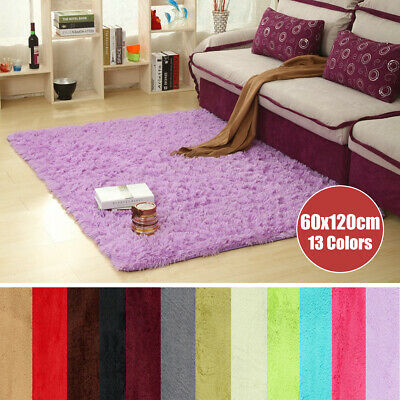 Fluffy Rugs Anti-Skid Shaggy Area Rug Dining Room Carpet Floor Mat Home 60x120cm