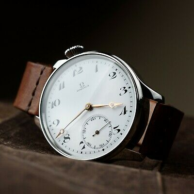 Mens vintage watch Omega antiques wristwatch swiss movement leather strap gift